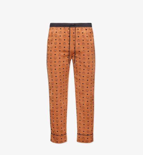 Pantalon de pyjama classique en soie à imprimé logo