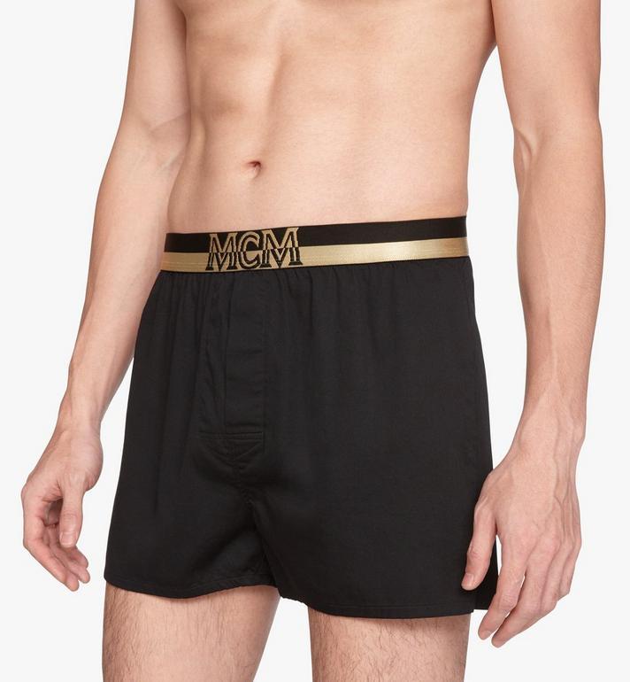 MCM Men's 1976 Woven Boxer Shorts Black MHYASBM06BK00S Alternate View 4