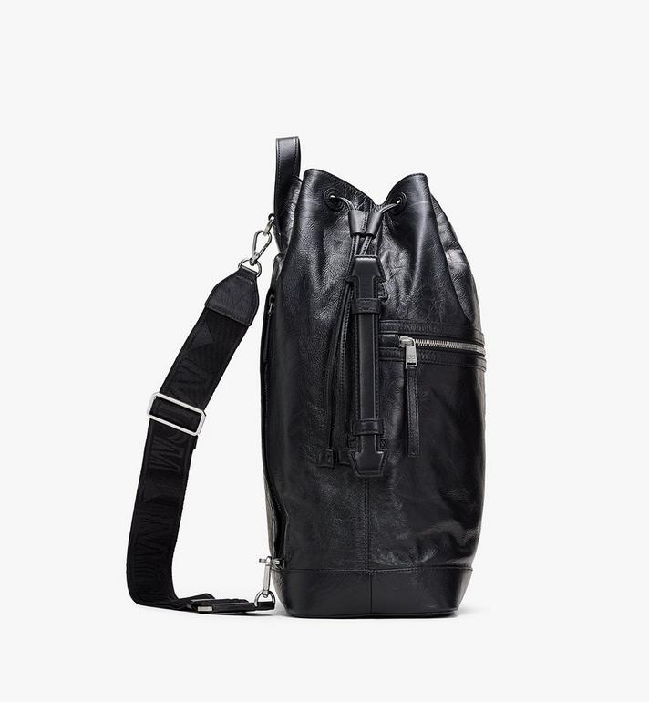 MCM Klassik Drawstring Backpack in Crushed Leather Black MMDASKC01BK001 Alternate View 2