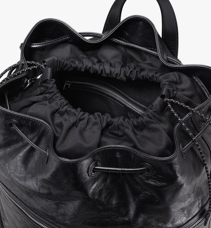 MCM Klassik Drawstring Backpack in Crushed Leather Black MMDASKC01BK001 Alternate View 4
