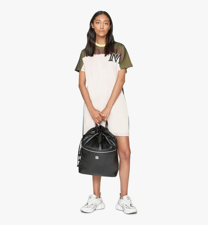 MCM Klassik Drawstring Backpack in Crushed Leather Black MMDASKC01BK001 Alternate View 7