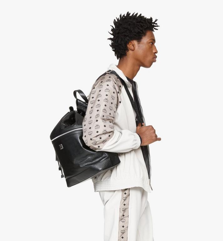 MCM Klassik Drawstring Backpack in Crushed Leather Black MMDASKC01BK001 Alternate View 8