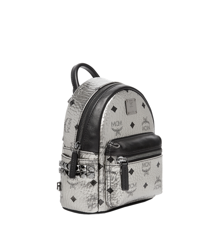 MCM Stark Side Studs Bebe Boo Backpack in Visetos Silver MMK6AVE50SV001 Alternate View 2