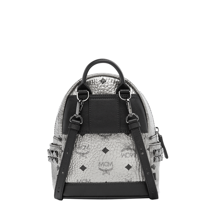 MCM Stark Side Studs Bebe Boo Backpack in Visetos Silver MMK6AVE50SV001 Alternate View 5