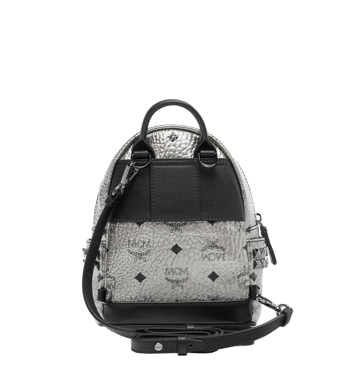 MCM Stark Side Studs Bebe Boo Backpack in Visetos Silver MMK6AVE50SV001 Alternate View 6
