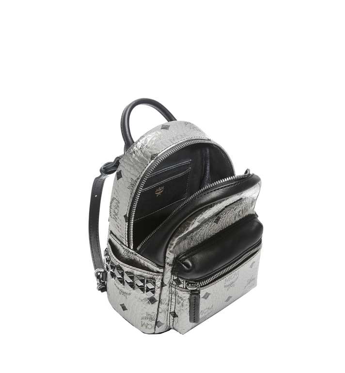 MCM Stark Side Studs Bebe Boo Backpack in Visetos Silver MMK6AVE50SV001 Alternate View 7