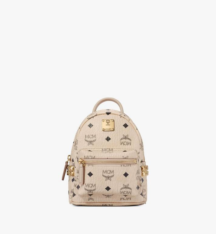 MCM Stark Side Studs Bebe Boo Backpack in Visetos Beige MMK6AVE92IG001 Alternate View 1