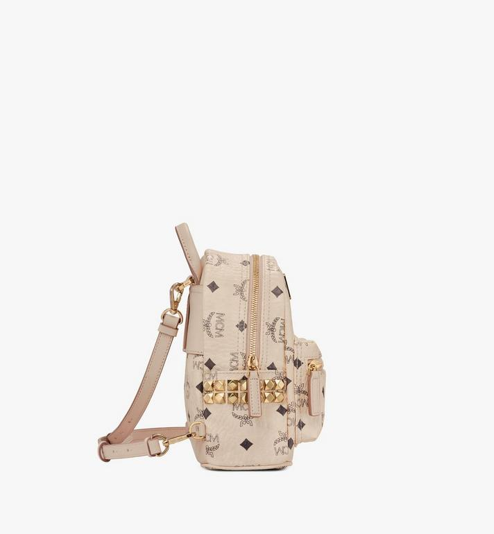 MCM Stark Side Studs Bebe Boo Backpack in Visetos Beige MMK6AVE92IG001 Alternate View 2