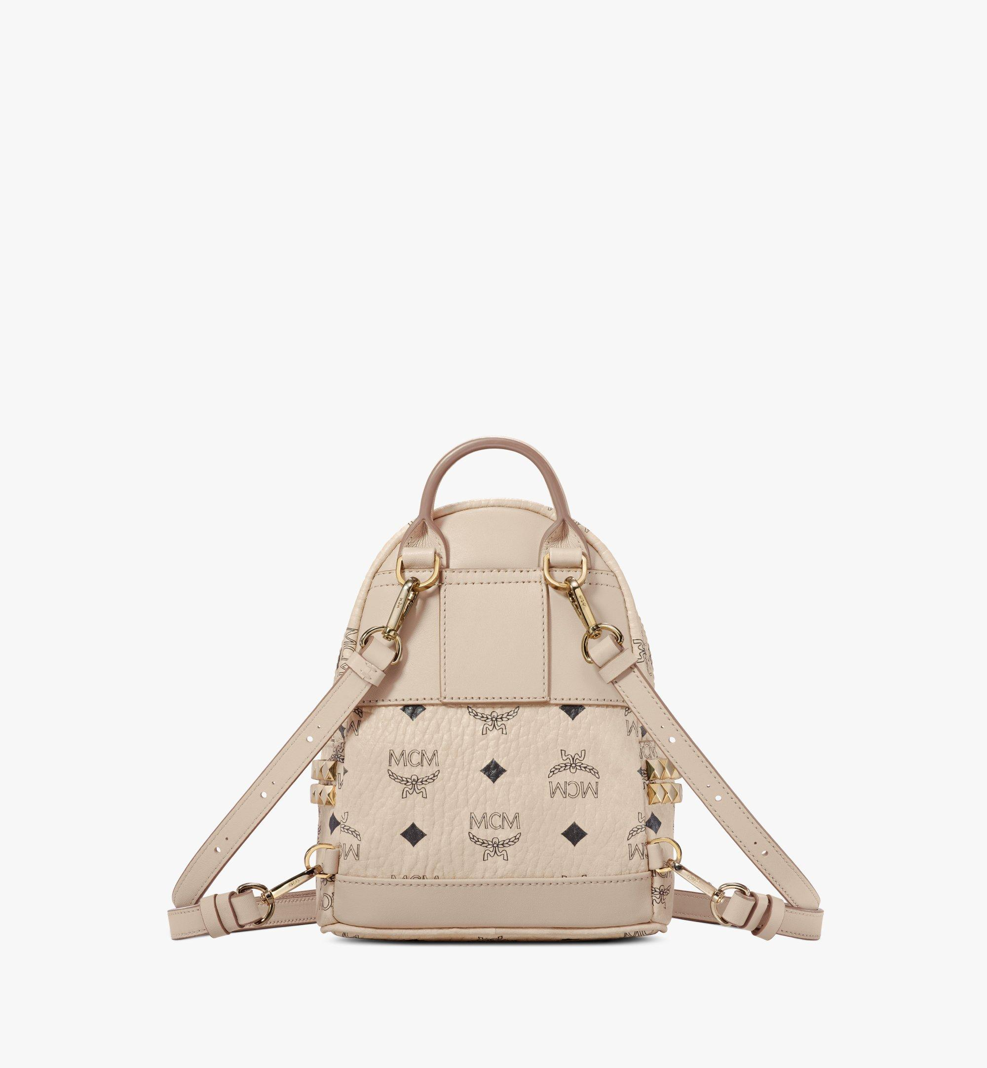 MCM Stark Side Studs Bebe Boo Rucksack in Visetos Beige MMK6AVE92IG001 Alternate View 4