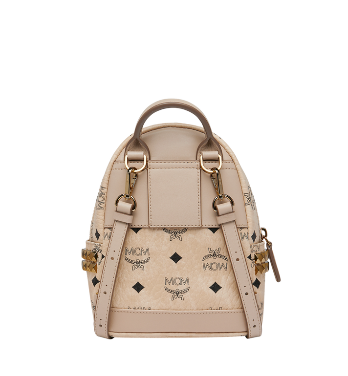 MCM Stark Side Studs Bebe Boo Rucksack in Visetos Beige MMK6AVE92IG001 Alternate View 5