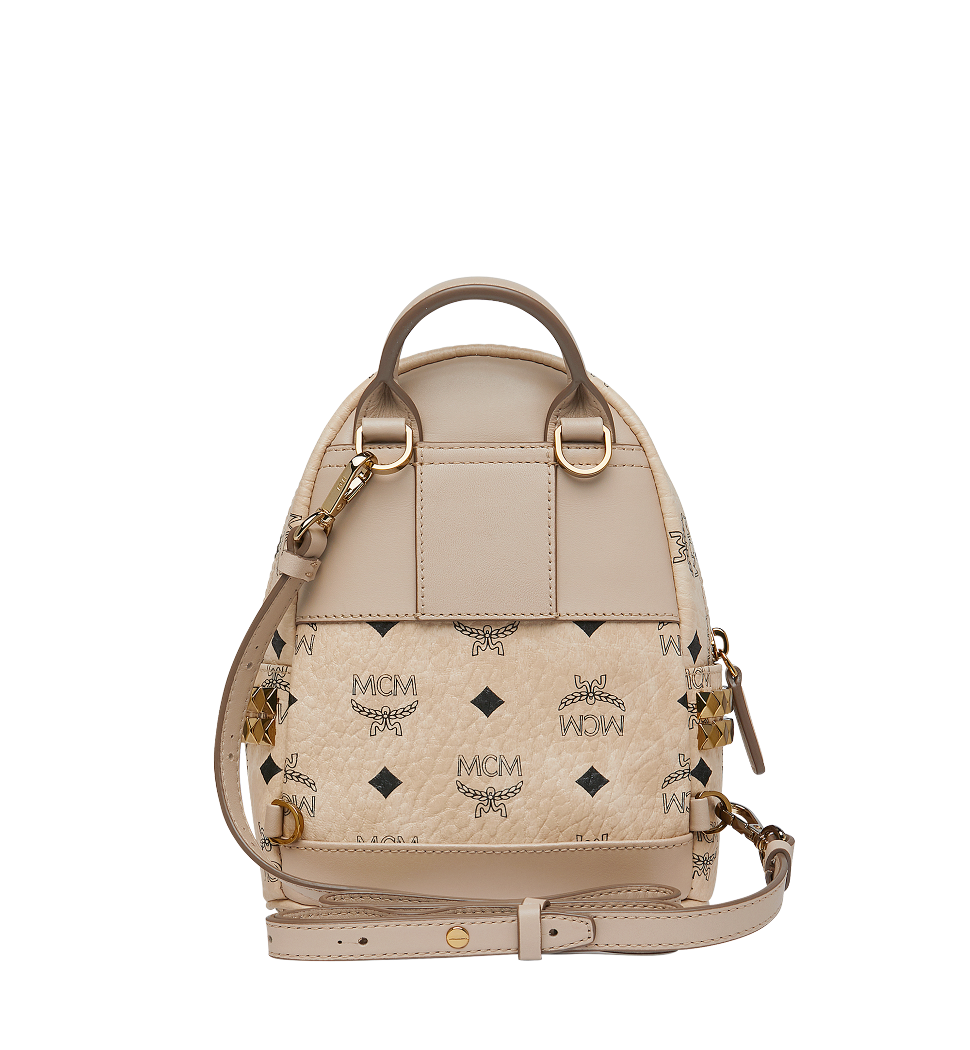 MCM Stark Side Studs Bebe Boo Rucksack in Visetos Beige MMK6AVE92IG001 Alternate View 6