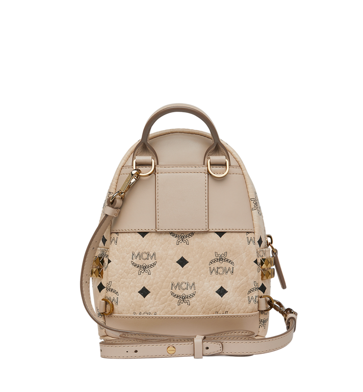 MCM Stark Side Studs Bebe Boo Backpack in Visetos Beige MMK6AVE92IG001 Alternate View 6