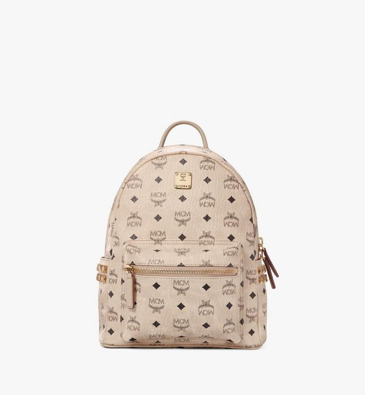 MCM Stark Visetos 側邊鉚釘雙肩背包 Beige MMK6SVE37IG001 Alternate View 1