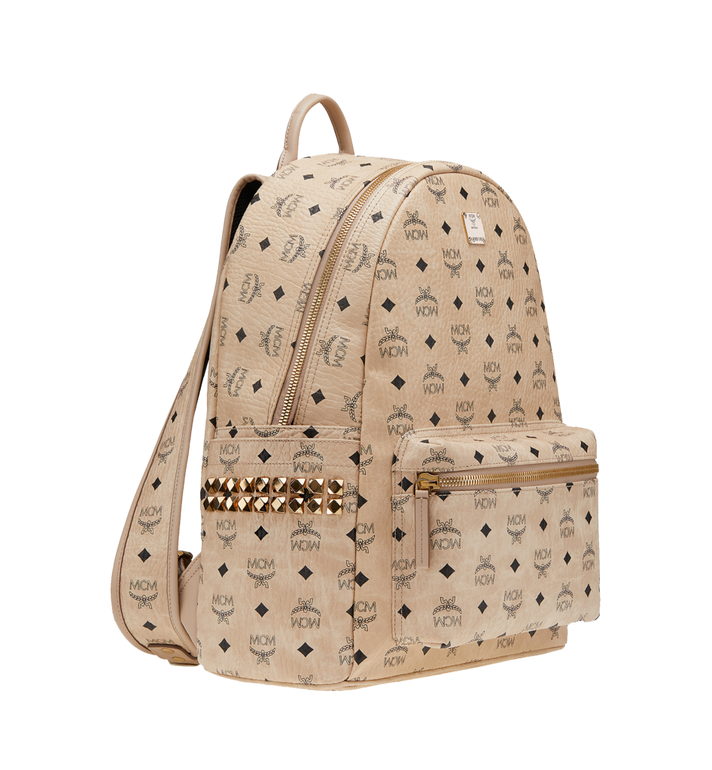 MCM Stark Side Studs Backpack in Visetos Beige MMK6SVE38IG001 Alternate View 2