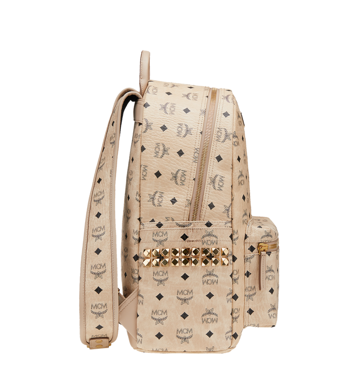 MCM Stark Side Studs Backpack in Visetos Beige MMK6SVE38IG001 Alternate View 3
