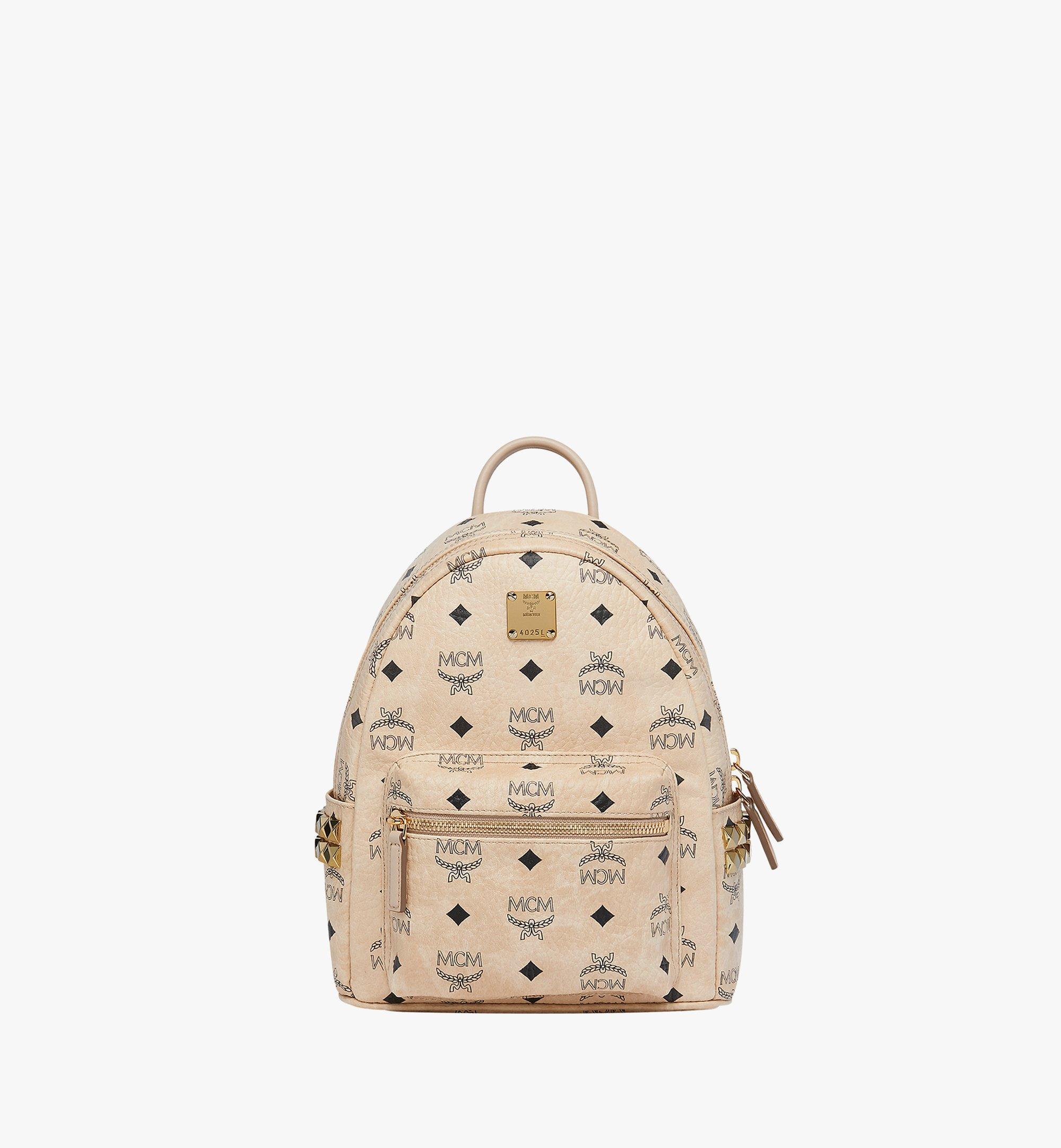 MCM Stark Side Studs Backpack in Visetos Beige MMK6SVE41IG001 Alternate View 1