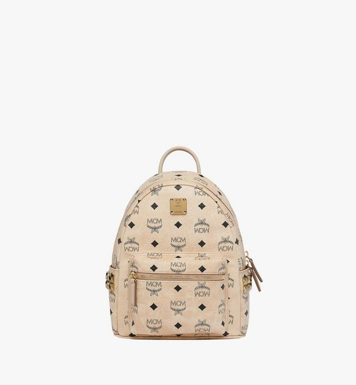 MCM Stark Side Studs Backpack in Visetos Beige MMK6SVE41IG001 Alternate View 1