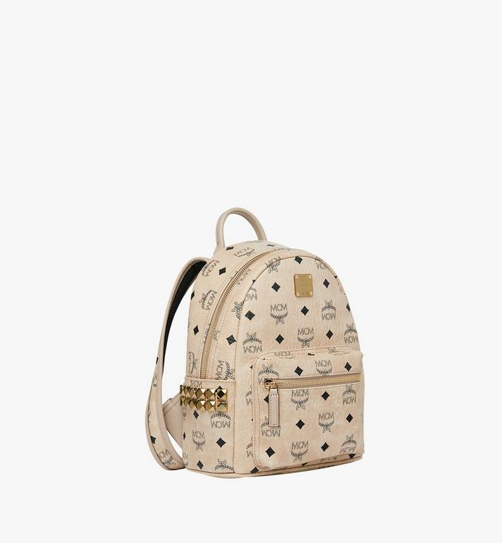 MCM Stark Side Studs Backpack in Visetos Beige MMK6SVE41IG001 Alternate View 2