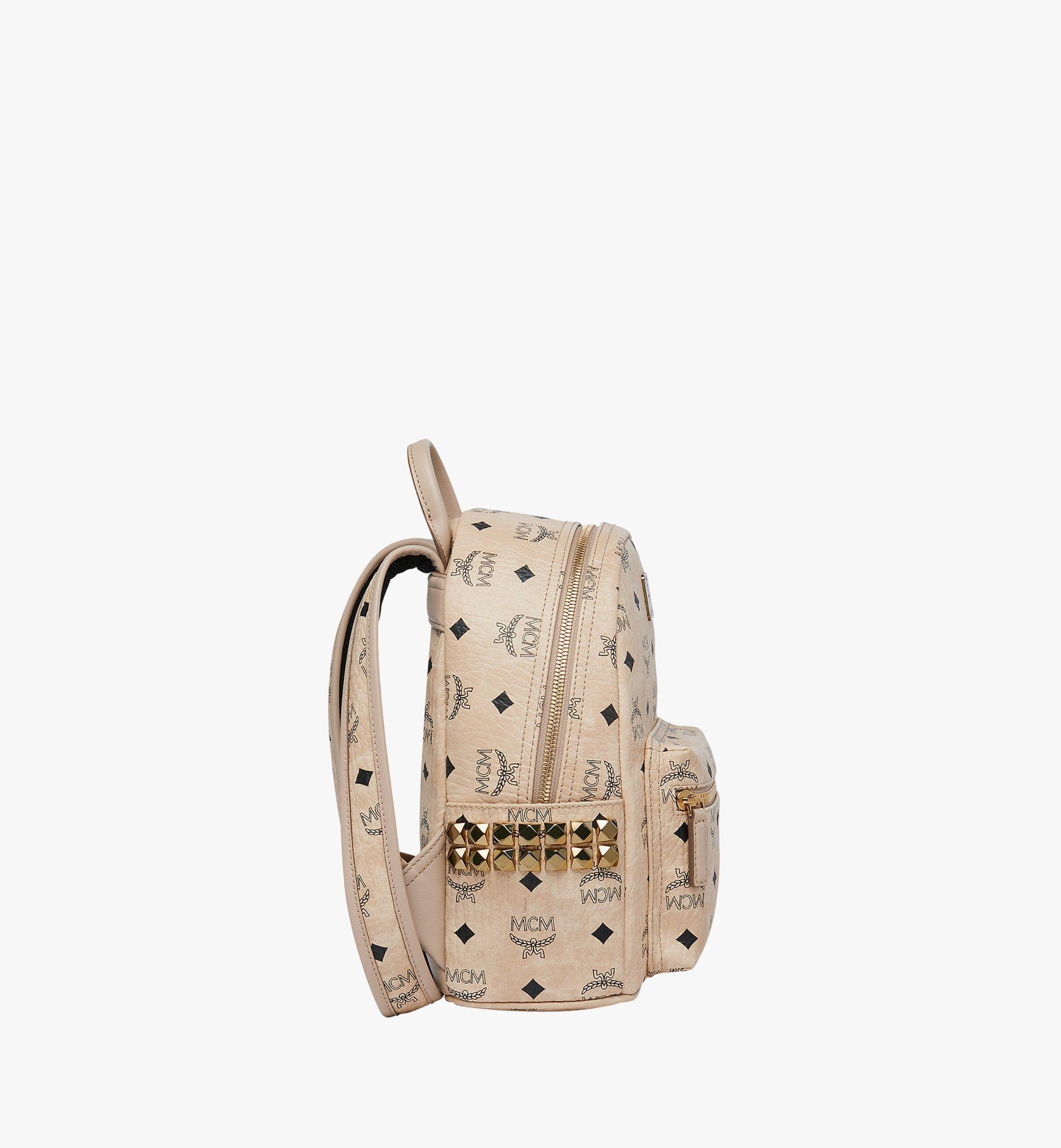 MCM Stark Side Studs Backpack in Visetos Beige MMK6SVE41IG001 Alternate View 3
