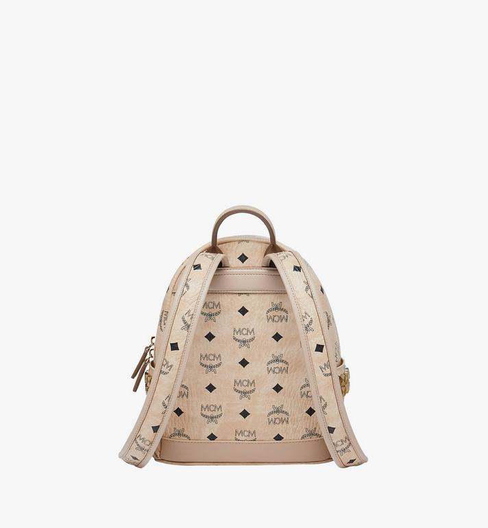MCM Stark Side Studs Backpack in Visetos Beige MMK6SVE41IG001 Alternate View 4