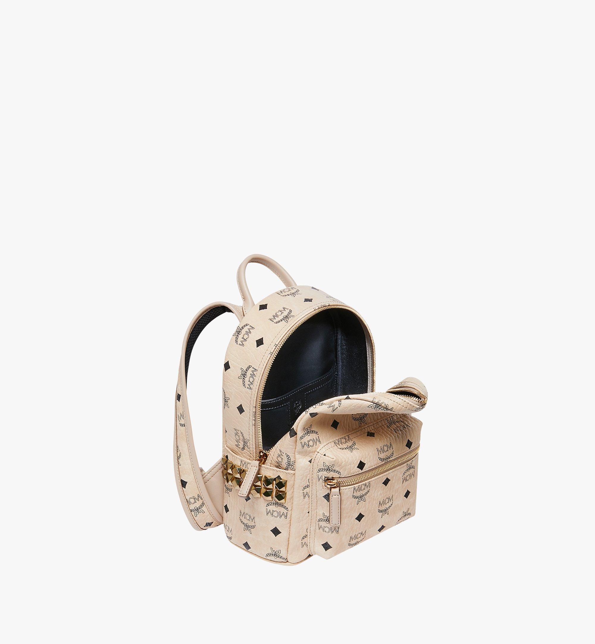 MCM Stark Side Studs Backpack in Visetos Beige MMK6SVE41IG001 Alternate View 5