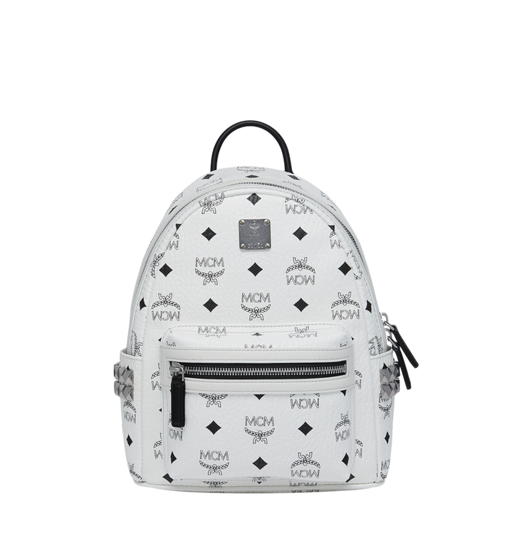 MCM Stark Side Studs Backpack in Visetos White MMK6SVE41WT001 Alternate View 1