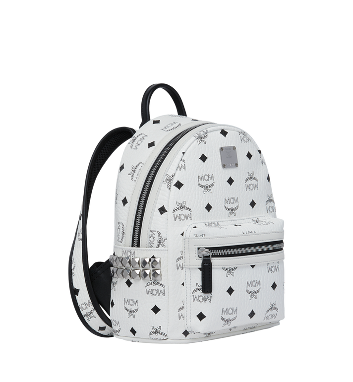 MCM Stark Side Studs Backpack in Visetos White MMK6SVE41WT001 Alternate View 2