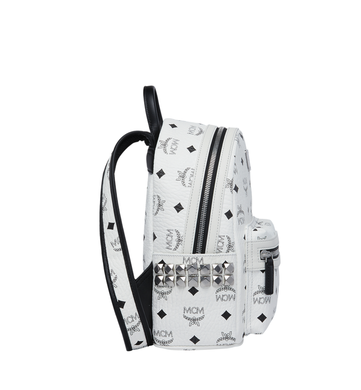 MCM Stark Side Studs Backpack in Visetos White MMK6SVE41WT001 Alternate View 3
