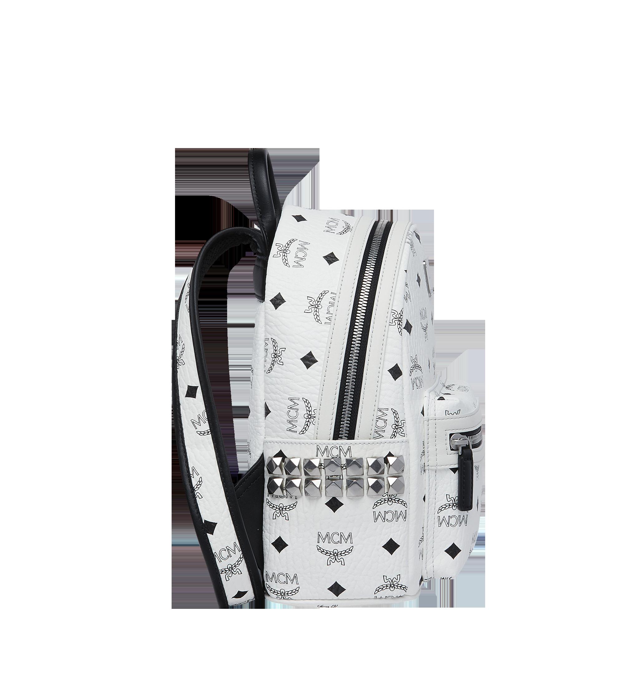 MCM Visetos 系列的 Stark 側鉚釘後背包 White MMK6SVE41WT001 Alternate View 3