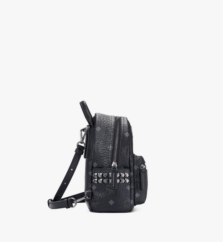 MCM Stark Side Studs Bebe Boo Backpack in Visetos Black MMK6SVE92BK001 Alternate View 2