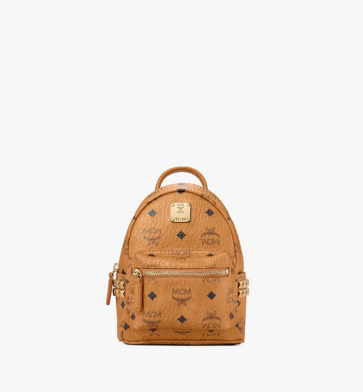 MCM Stark Side Studs Bebe Boo Rucksack in Visetos Cognac MMK6SVE92CO001 Alternate View 1