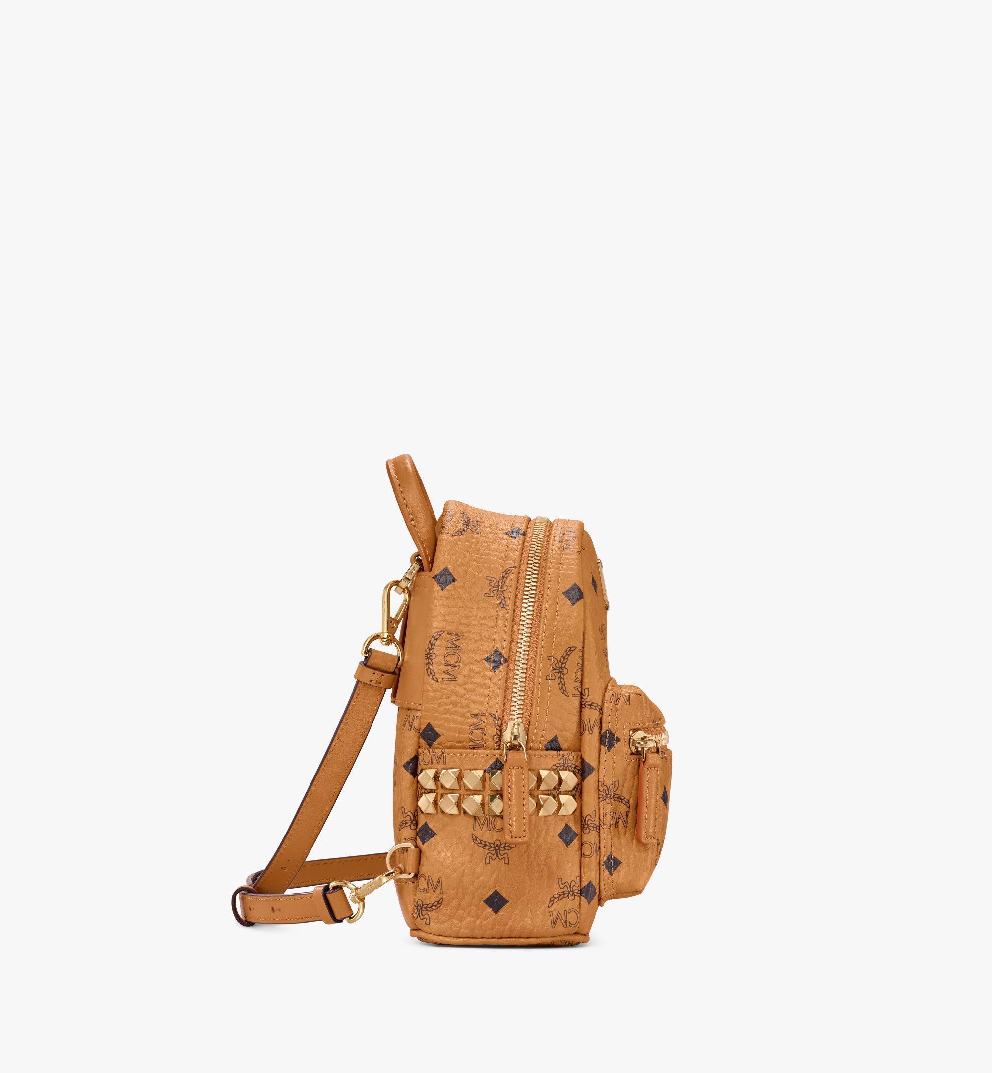MCM Stark Side Studs Bebe Boo Backpack in Visetos Cognac MMK6SVE92CO001 Alternate View 2