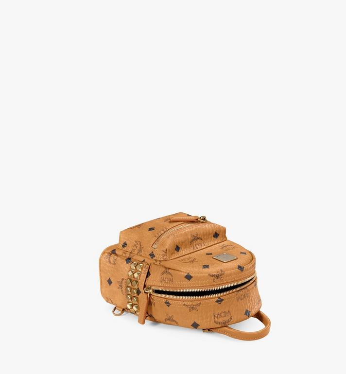 MCM Stark Side Studs Bebe Boo Backpack in Visetos Cognac MMK6SVE92CO001 Alternate View 3