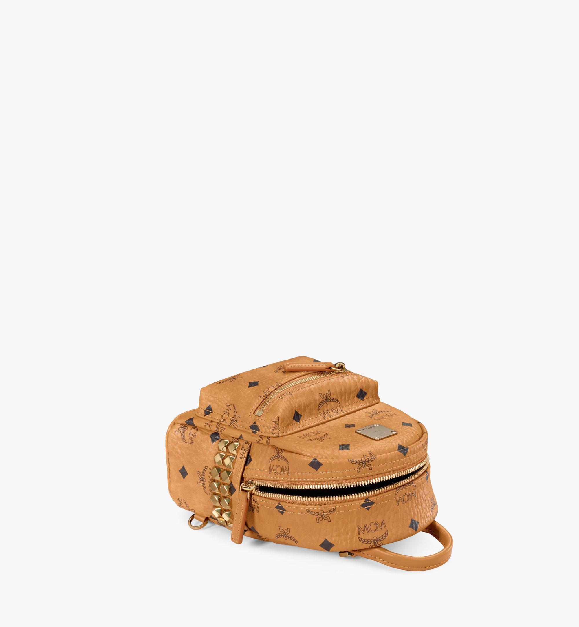 MCM Stark Side Studs Bebe Boo Backpack in Visetos Cognac MMK6SVE92CO001 Alternate View 3