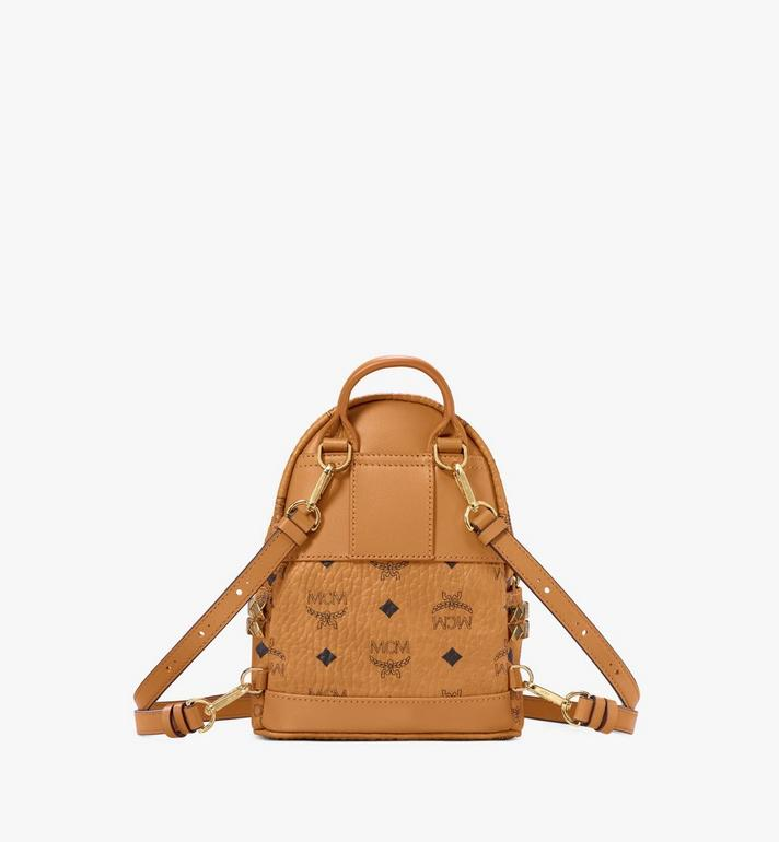 MCM Stark Side Studs Bebe Boo Backpack in Visetos Cognac MMK6SVE92CO001 Alternate View 4