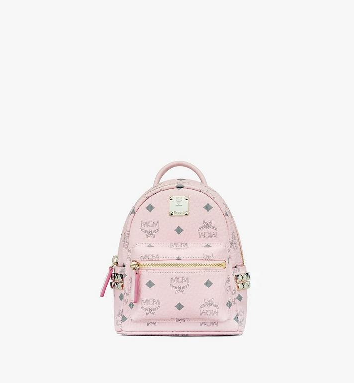 MCM Stark Bebe Boo Backpack in Visetos Pink MMK6SVE92QH001 Alternate View 1