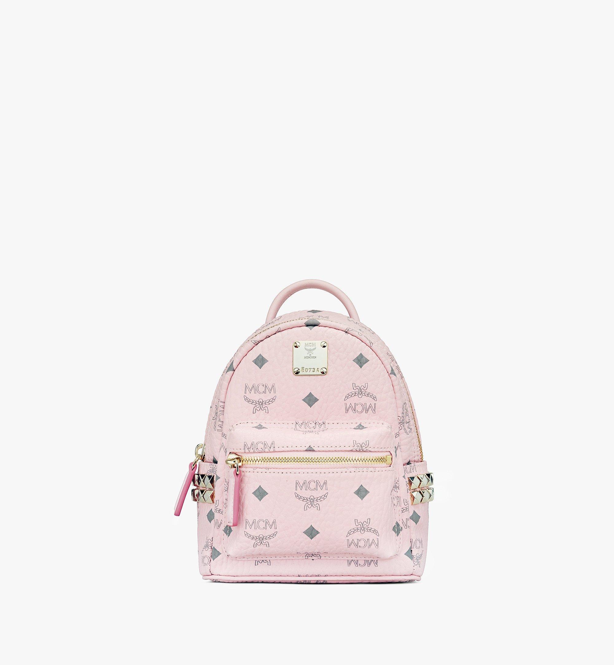 MCM Stark Bebe Boo Backpack in Visetos Pink MMK6SVE92QH001 Alternate View 1
