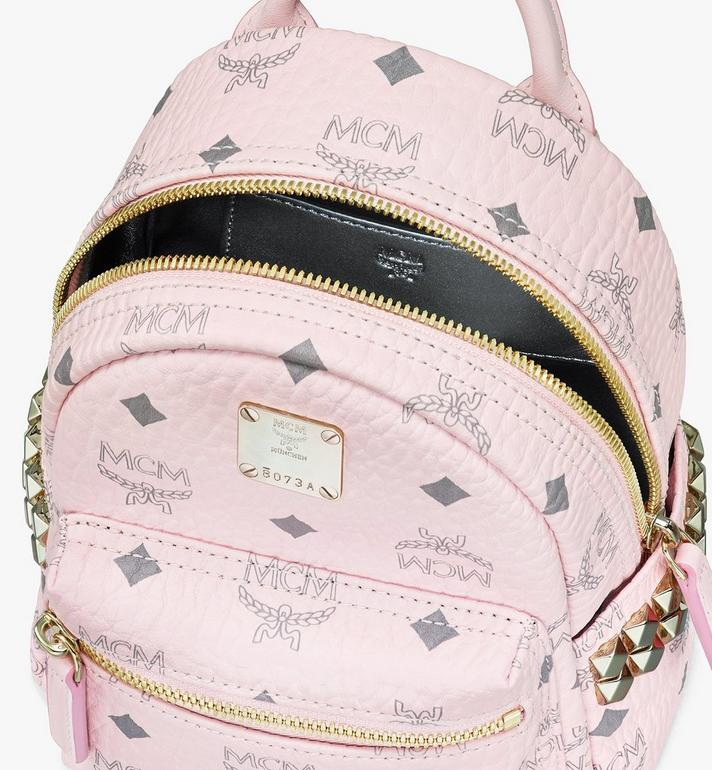 MCM Stark Bebe Boo Backpack in Visetos Pink MMK6SVE92QH001 Alternate View 4