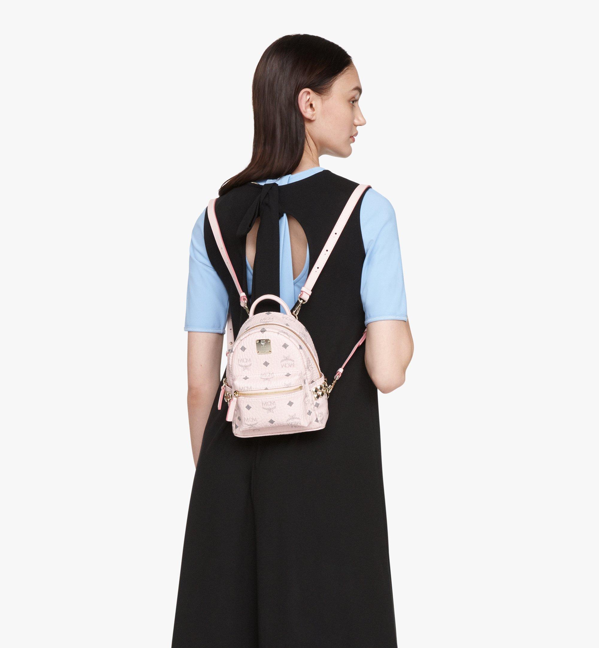 MCM Stark Bebe Boo Backpack in Visetos Pink MMK6SVE92QH001 Alternate View 5