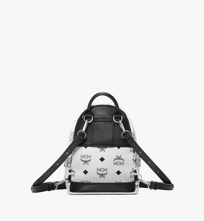 MCM Stark Side Studs Bebe Boo Backpack in Visetos White MMK6SVE92WT001 Alternate View 4