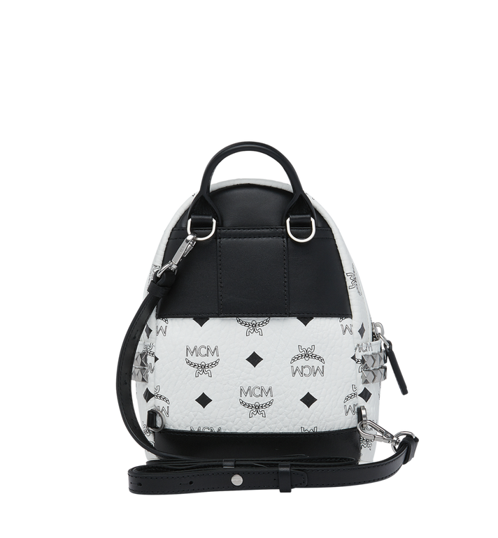 MCM Stark Side Studs Bebe Boo Backpack in Visetos White MMK6SVE92WT001 Alternate View 6