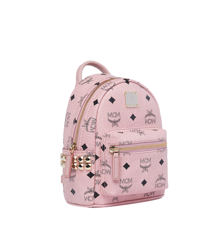 MCM Stark Side Studs Bebe Boo Rucksack in Visetos Pink MMK7AVE92PZ001 Alternate View 2