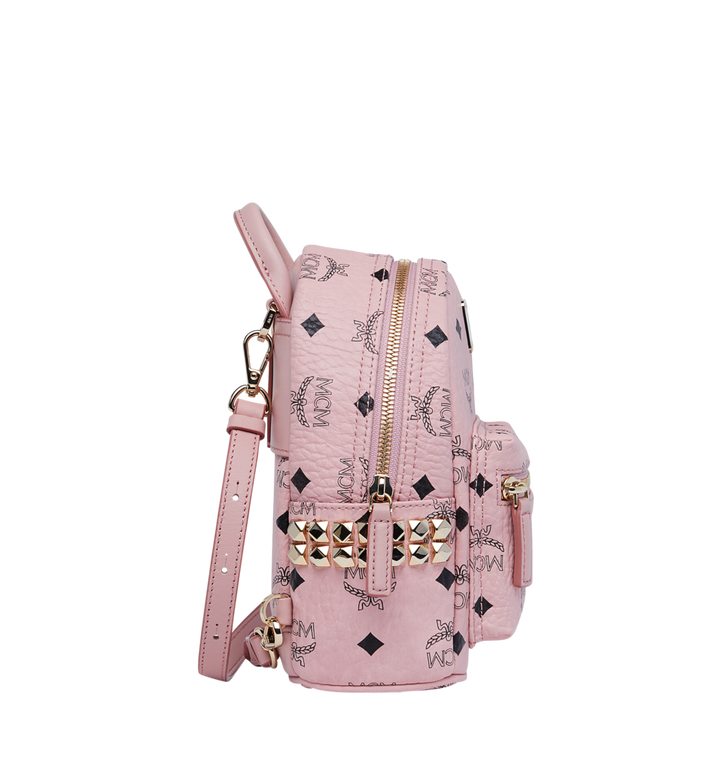 MCM Stark Side Studs Bebe Boo Rucksack in Visetos Pink MMK7AVE92PZ001 Alternate View 3