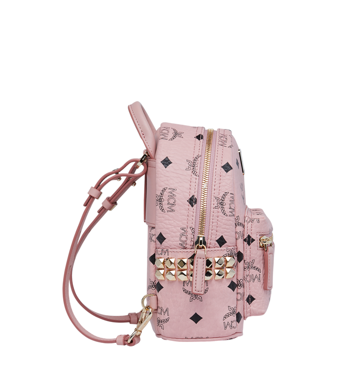 MCM Stark Side Studs Bebe Boo Rucksack in Visetos Pink MMK7AVE92PZ001 Alternate View 4
