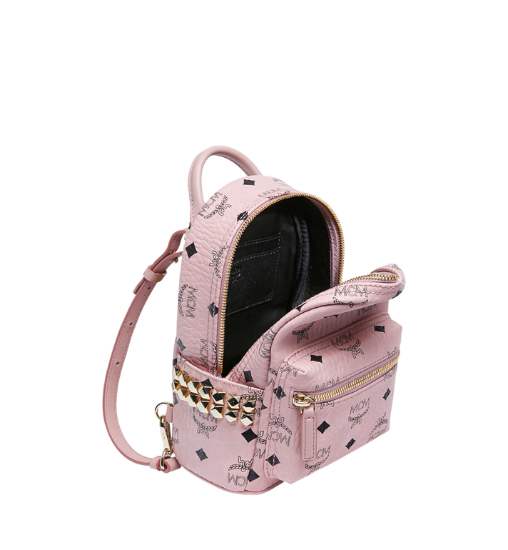 MCM Stark Side Studs Bebe Boo Rucksack in Visetos Pink MMK7AVE92PZ001 Alternate View 7