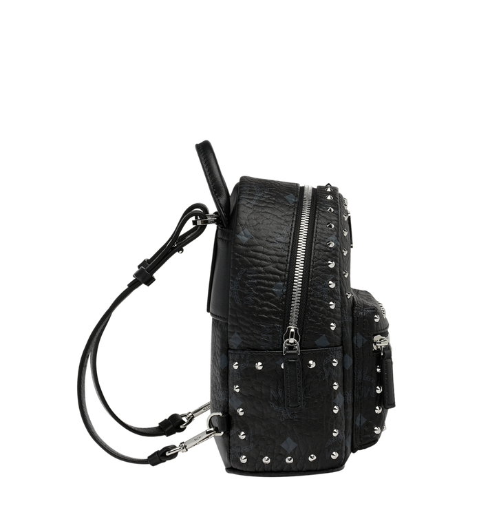MCM Stark Bebe Boo Backpack in Studded Outline Visetos Black MMK8AVE04BK001 Alternate View 4