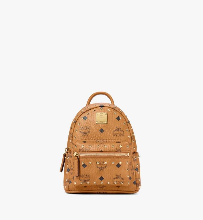 MCM Stark Bebe Boo Backpack in Studded Outline Visetos Cognac MMK8AVE04CO001 Alternate View 1