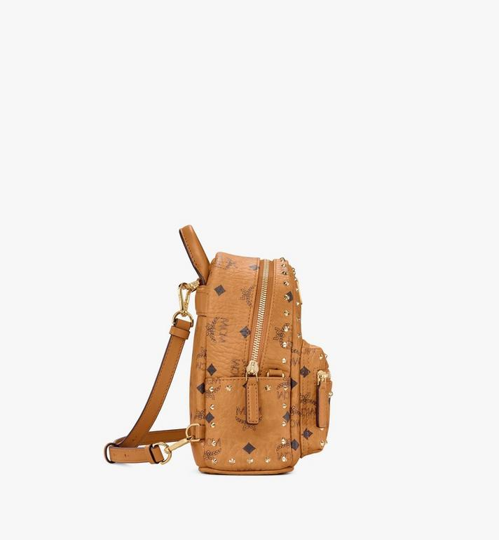MCM Stark Bebe Boo Backpack in Studded Outline Visetos Cognac MMK8AVE04CO001 Alternate View 2