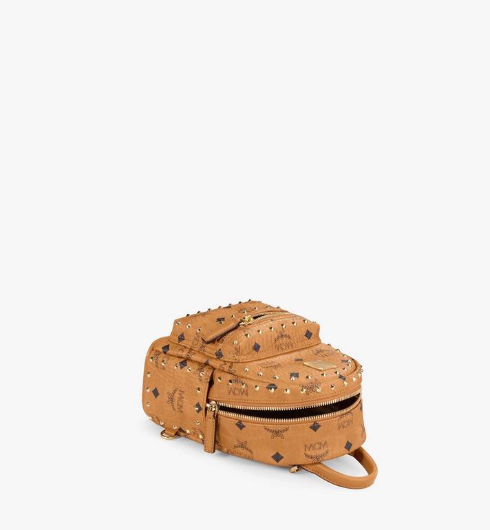 MCM Stark Bebe Boo Backpack in Studded Outline Visetos Cognac MMK8AVE04CO001 Alternate View 3
