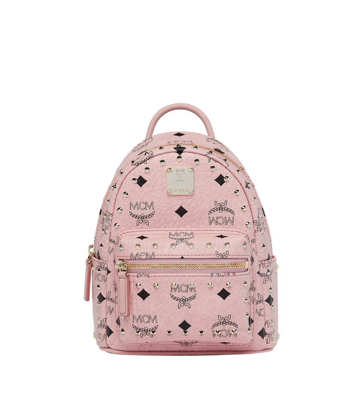 MCM Stark Bebe Boo Backpack in Studded Outline Visetos Pink MMK8AVE04PZ001 Alternate View 1